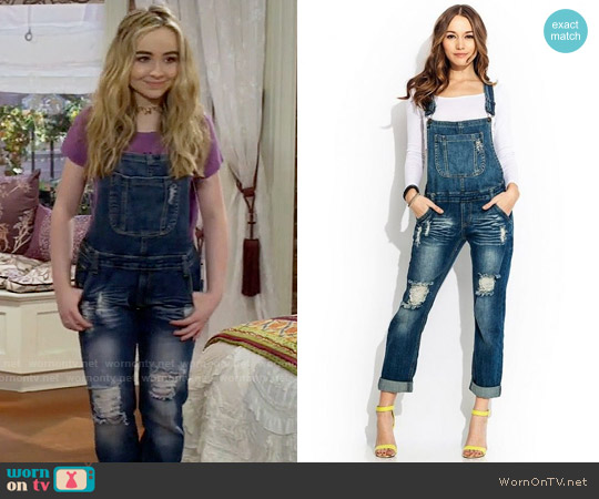 Go Jane Tomboy Destroyed Overalls worn by Sabrina Carpenter on Girl Meets World