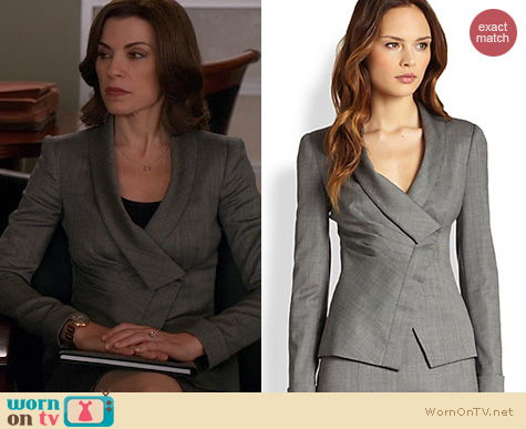 The Good Wife Fashion: Armani Collezioni Draped lapel jacket worn by Julianna Margulies