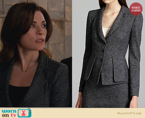 Fashion of The Good Wife: Armani Collezioni Herringbone Blazer worn by Alicia Florrick