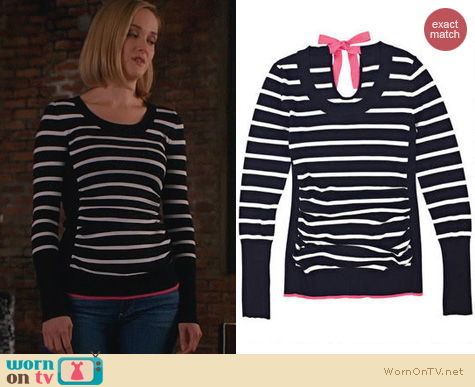 The Good Wife Fashion: Delia's Contrast Tie Back Sweater worn by Jess Weixler