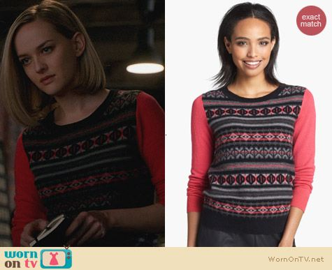 Fashion of The Good wife: Halogen Fair Isle Cashmere Sweater worn by Jess Weixler