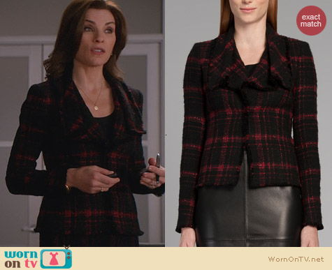 The Good Wife Fashion: Lafayette 148 New York Cecille Plaid Tweed Jacket worn by Alicia Florrick