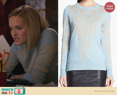 The Good Wife Fashion: Remain Intarsia Knit Sweater worn by Jess Weixler
