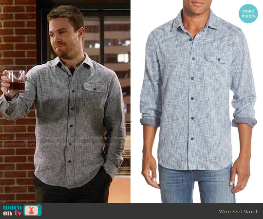Grayers Double Face Sport Shirt in Space Dyed Blue Cream worn by Oliver Queen on The Flash
