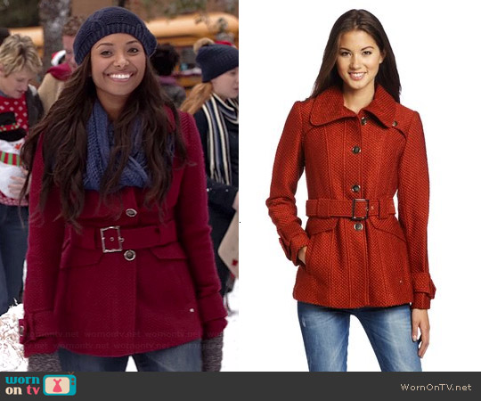 Green wit Envy Belted Coat worn by Kat Graham on The Vampire Diaries