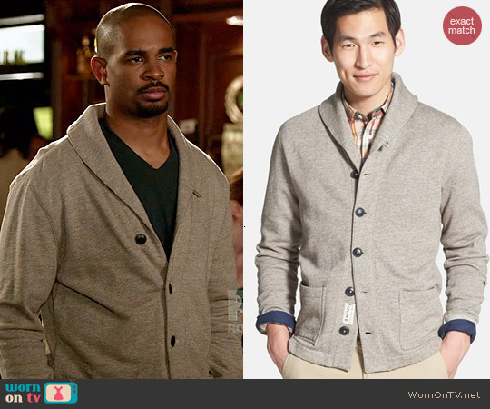 Grayers French Terry Shawl Collar Cardigan worn by Damon Wayans Jr on New Girl