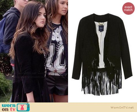 Grypon Fringed Jacket worn by Lucy Hale on PLL