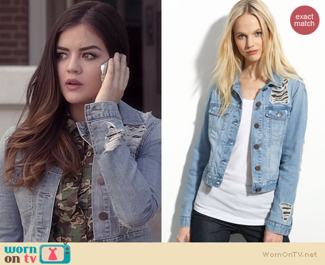 Gryphon Chain Mesh Denim Jacket worn by Lucy Hale on PLL