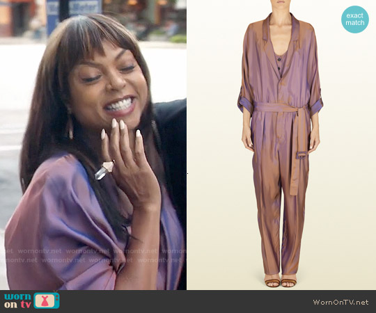 Gucci Iridescent Peach Twill Belted Jumpsuit worn by Taraji P. Henson on Empire
