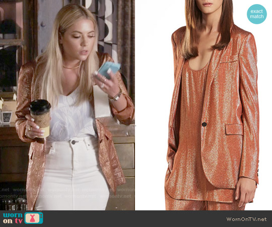 Gucci Iridescent Rust Liquid Deconstructed Jacket worn by Hanna Marin on PLL