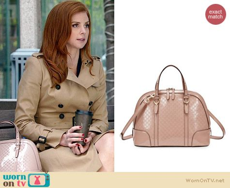 Gucci Microguccissima Patent Leather Dome Satchel worn by Sarah Rafferty on Suits