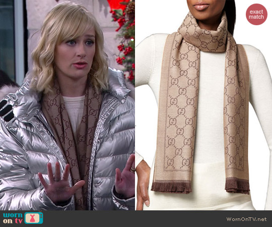 Gucci GG Pattern Scarf worn by Beth Behrs on 2 Broke Girls