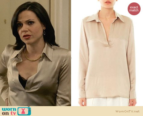 Gucci Hammered Silk Blouse worn by Lana Parilla on OUAT
