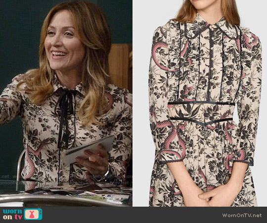 b553f7af704a4 WornOnTV  Maura s snake and floral print blouse on Rizzoli and Isles ...