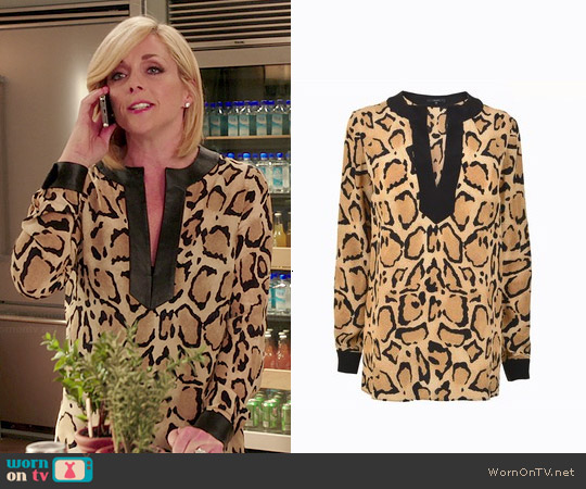 Gucci Leopard Print Blouse worn by Jane Krakowski on Unbreakable Kimmy Schmidt