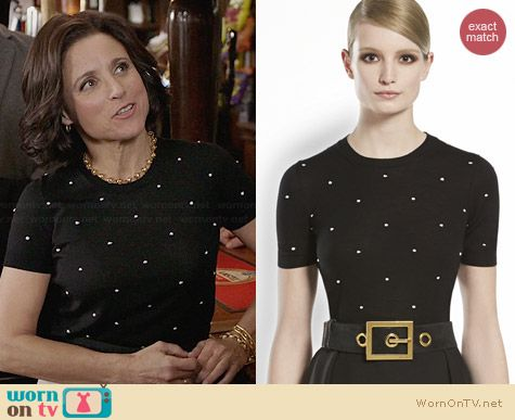 Gucci Merino Wool Polka Dot Top worn by Julia Louis Dreyfus on Veep
