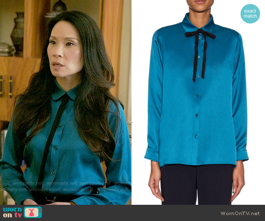 Gucci Neck Tie Silk Shirt worn by Lucy Liu on Elementary