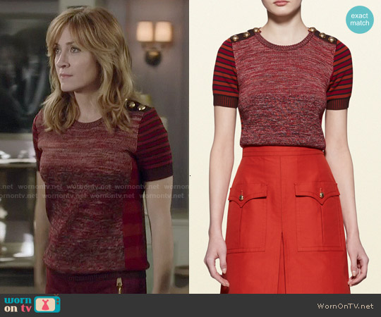 Gucci Patchwork Knit Top worn by Sasha Alexander on Rizzoli & Isles
