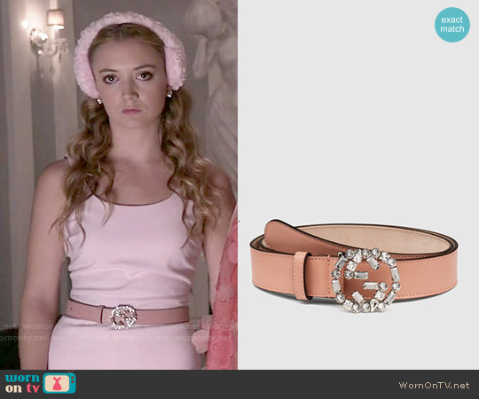 Gucci Pink Leather Belt with Crystal Interlocking G Buckle worn by Chanel #3 on Scream Queens