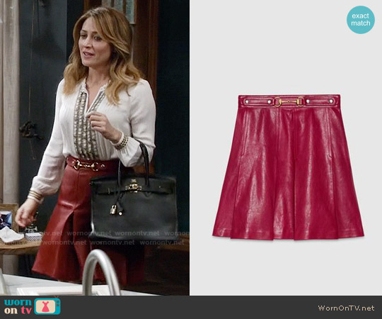 Gucci Red Pleated Leather Skirt worn by Maura Isles on Rizzoli & Isles