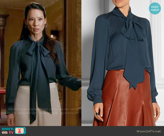Gucci Pussy-bow Silk-georgette Top worn by Lucy Liu on Elementary