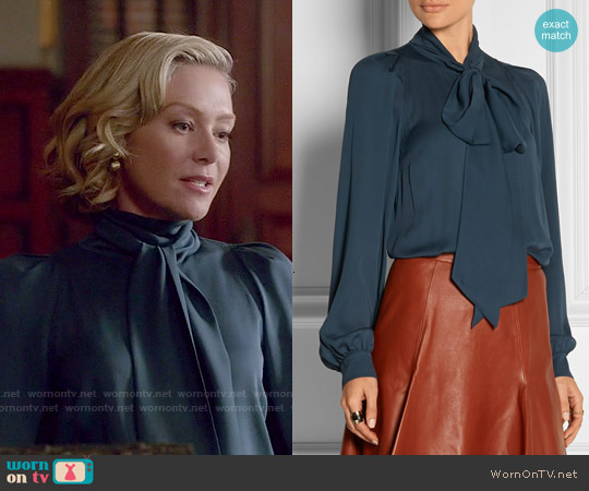 Gucci Pussy-bow Silk-georgette Top worn by Portia de Rossi on Scandal