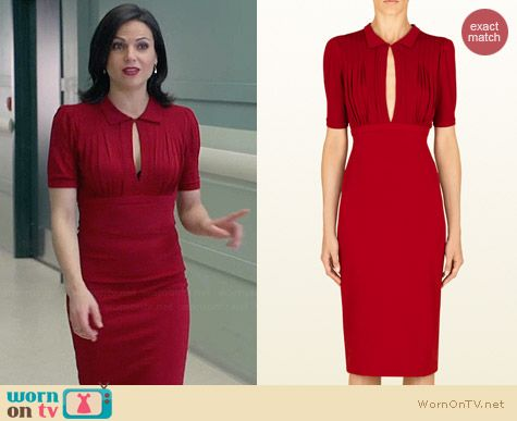 Gucci Raspberry Viscose Jersey Open Front Dress worn by Lana Parilla on OUAT