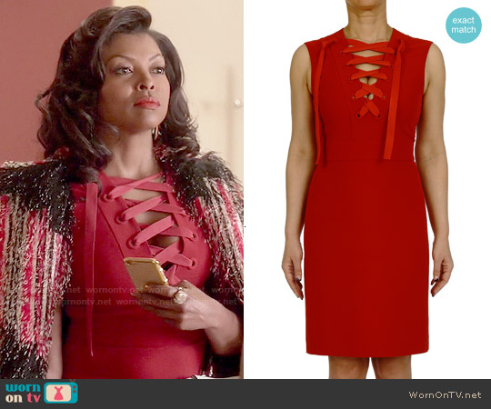 Gucci Red Lace Up Dress worn by Taraji P. Henson on Empire