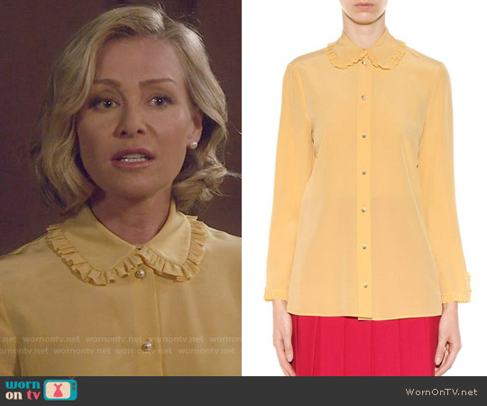 Gucci Ruffled Silk Blouse worn by Portia de Rossi on Scandal