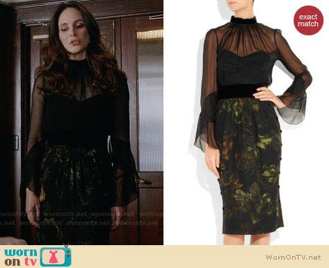 Gucci Silk Chiffon Printed Silk Dress worn by Madeleine Stowe on Revenge