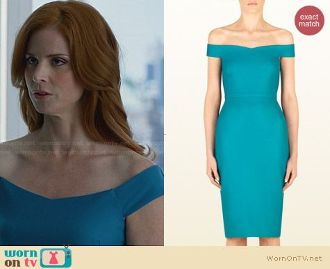 Gucci Stretch Flannel Off The Shoulder Shift Dress worn by Sarah Rafferty on Suits