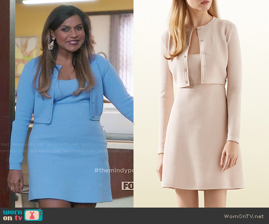 Gucci Stretch Viscose Cropped Cardigan and Dress worn by Mindy Kaling on The Mindy Project