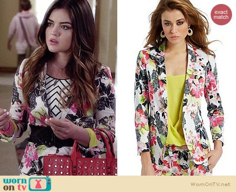 Guess by Marciano Black Hibiscus Jacket worn by Aria Montgomery on PLL