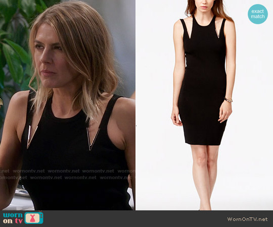 Guess Euro Embellished Cutout Sheath Dress worn by Chelsea on The Mindy Project