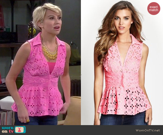Guess Eyelet Peplum Top worn by Chelsea Kane on Baby Daddy