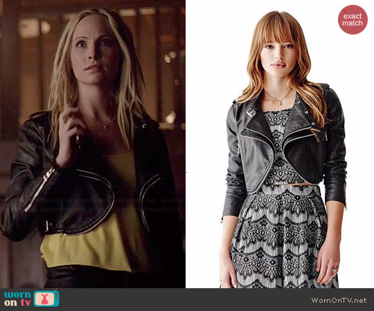 Guess Long Sleeve Faux Leather Cropped Moto Jacket worn by Candice Accola on The Vampire Diaries