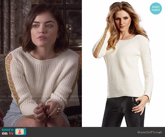 Guess Isabeli Sweater worn by Lucy Hale on PLL
