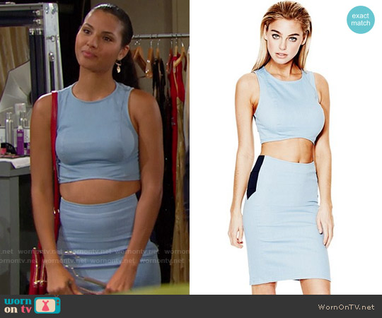 Guess Jeancare Crop Top and Pencil Skirt worn by Felisha Cooper on The Bold & the Beautiful