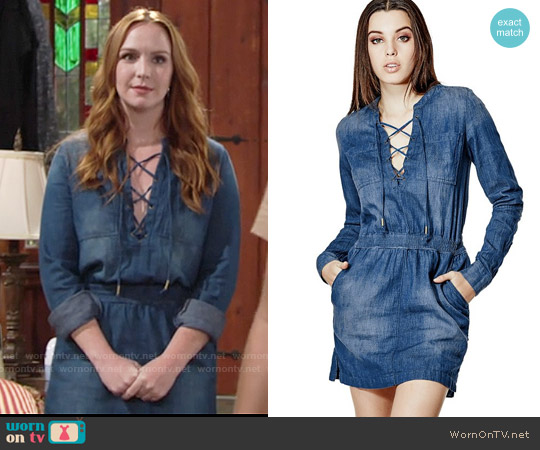Guess Lace-up Safari Denim Shirtdress worn by Camryn Grimes on The Young & the Restless