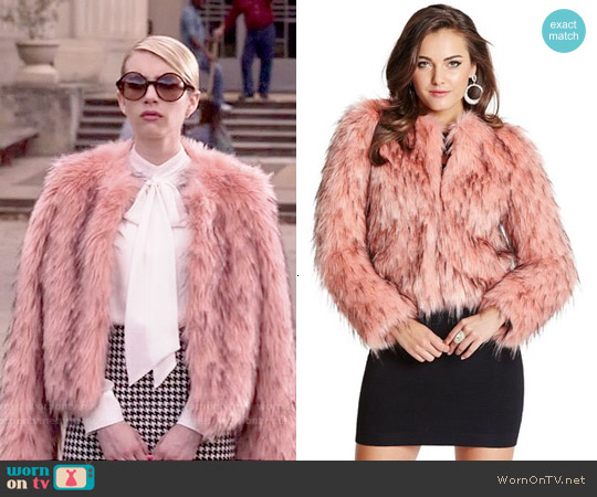 Guess by Marciano Lula Faux Fur Jacket worn by Chanel Oberlin on Scream Queens