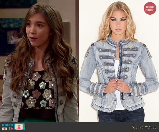 Guess Denim Marching Jacket worn by Rowan Blanchard in Girl Meets World