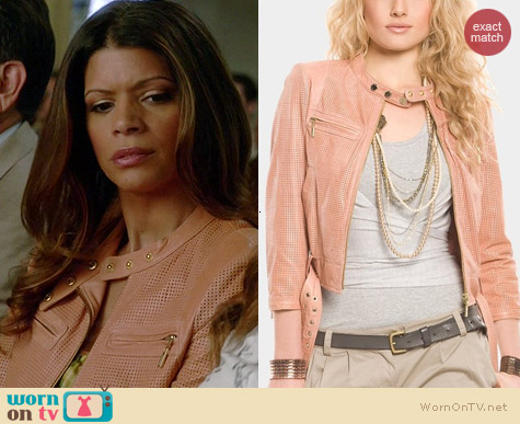 Guess Evon Perforated Leather Jacket worn by Andrea Navedo on Jane the Virgin