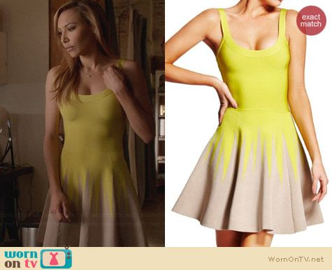 Guess Marciano Margo Dress in Chartreuse worn by Naya Rivera on Glee