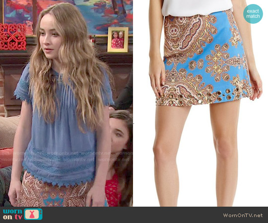 Guess by Marciano Paz Paisley Skirt worn by Sabrina Carpenter on Girl Meets World