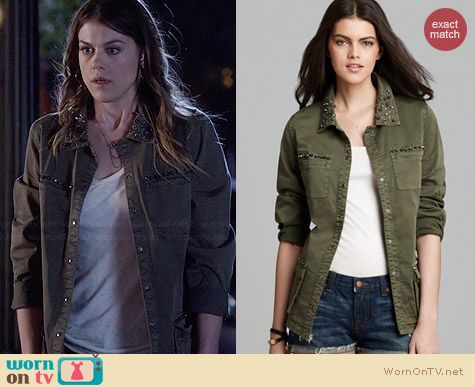 Guess Military Twill Jacket worn by Lindsey Shaw on PLL