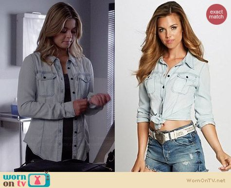 Guess Natalie Denim Shirt worn by Sasha Pieterse on PLL