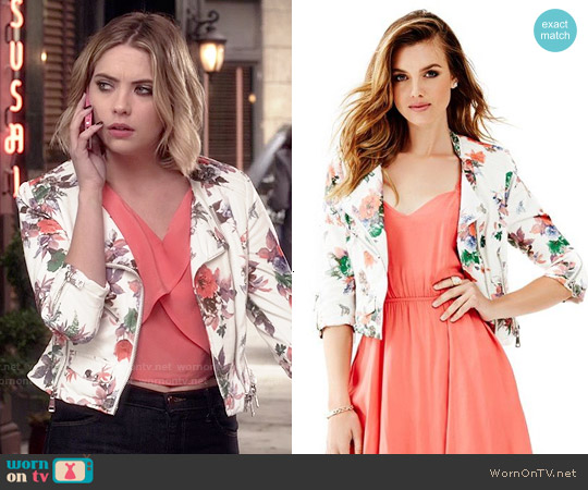Guess Orsola Moto Jacket worn by Ashley Benson on PLL