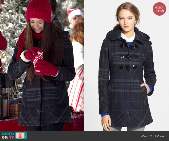 Guess Plaid Toggle Coat worn by Nina Dobrev on The Vampire Diaries