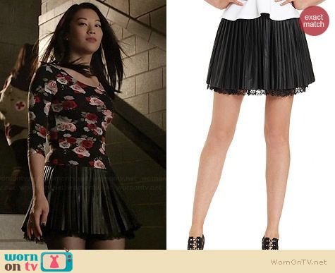 Guess Peated Faux Leather and Lace Skirt worn by Arden Cho on Teen Wolf