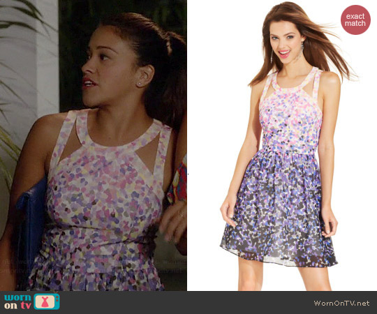 Guess Printed Cutout Halter Dress worn by Gina Rodriguez on Jane the Virgin